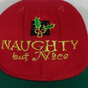 Christmas Hat Snapback Cap Naughty But Nice